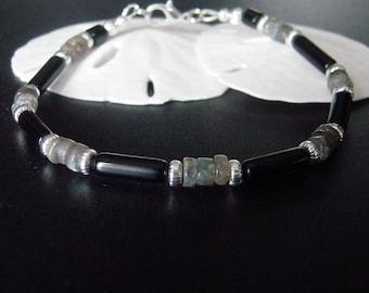 Mens Black Bracelet, Mens Jewelry Bracelet, Beaded Bracelet, Black Obsidian Bracelet, Labradorite Bracelet, Gift for Men, Boyfriend Gift