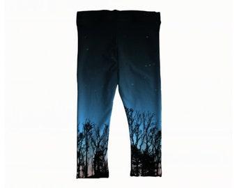 Children's NIght Sky Leggings (sizes 6 months-12yrs) - Children's Leggings, Printed Leggings, Sky Leggings, Space Leggings