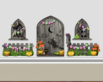 Fantasy Wicked Witch Fairy Door Above Skirting Board Wall Sticker Set