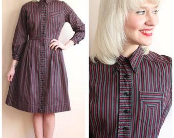 1950s Dress // Weekend Stripe Dress // vintage 50s cotton dress