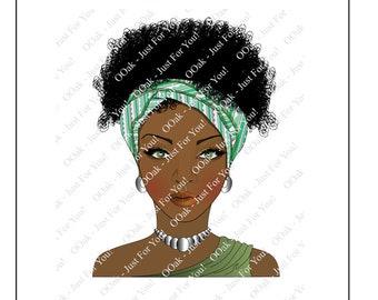 Ebony - Ethnic Woman in Half Head Wrap (Ethnic/Black Girl)