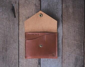 Mens christmas Gift, boyfriend gift, Mens gift Leather Wallet Minimalist Tan Mens Womens Wallet, Custom Initials