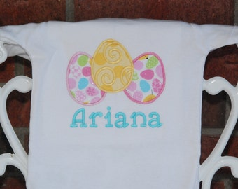 Baby girl Easter bodysuit or shirt with personalized name! Easter egg applique top with custom name/ Pink, yellow and blue