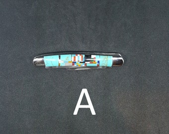 small 3 blades Turquoise Inlay pocket knife