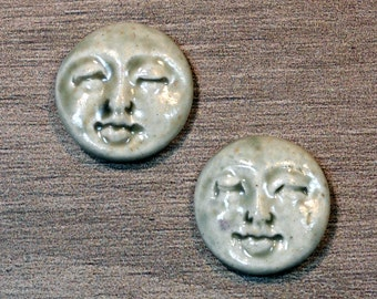 Pair of Two Medium Round Ceramic Face Stone Cabochons in Pale Flesh