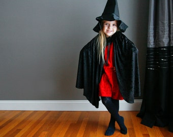 Handmade Wicked Witch Cape and Hat Black Crushed Velvet