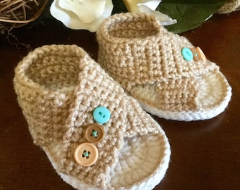 Crocheted baby criss-cross slippers booties shoes