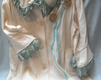 JACKET Duster Formal Whimsical Glamgirl Boho Satin Embellished - Ivory Satin