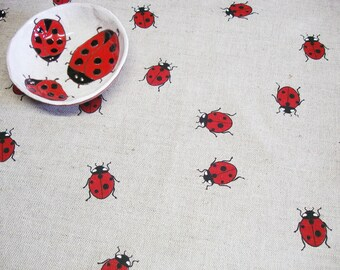 Tablecloth With Ladybugs, Round LinenTablecloth,  Custom Size Linen Table cloth, Table decor for villa or cottage, Ladybugs tablecloth