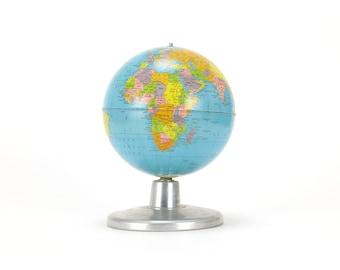 "vintage replogle simplified 8"" globe on aluminum base"