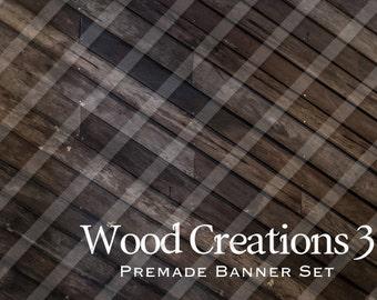 """Premade Shop Banner Set - Premade Etsy Banner Set - Etsy Shop Banner - Avatar - Facebook - """"Wood Creations 3"""" Banner Set"""