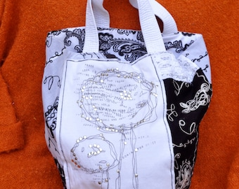 Black and White Funky Cotton Tote Bag