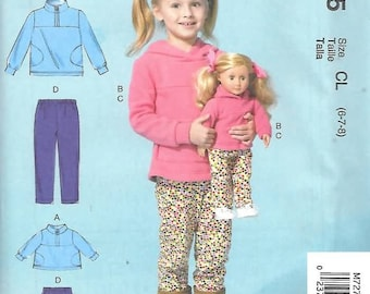 """Girls Yoked Tops/Pants and Matching 18"""" Doll Clothes, New Uncut McCalls Pattern 7275"""