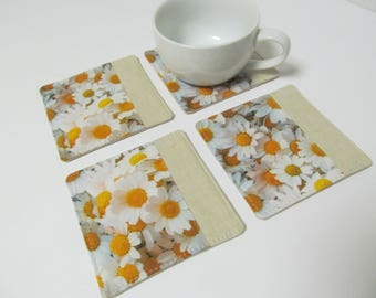 Set Of 4 Fabric Coasters/Daisy x Linen