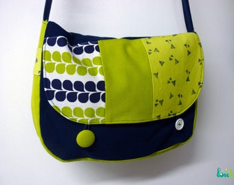 Navy blue cotton bag and green patchwork