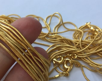 10 Snake Chains 46cm Gold Plated - CHN55