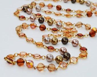 SALE - Colorful Fashion Bohemian Long Chain Beaded Necklace, Shabby Chic Bib Statement Jewelry