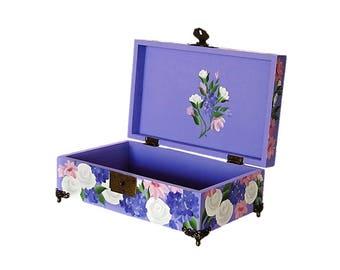 Hand Painted Pet Dog Cat Cremains Memorial Box - Roses, Purple Blue Pink Flowers Floral Design, Keepsake Memory Box - Pet Memorial Box Urn