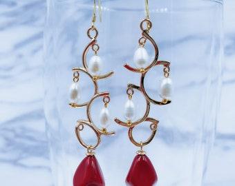 Red and White Seashell Earrings