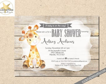 Giraffe Baby Shower Invitation, Gender Neutral Shower Invitation, Digital File,  PRINTABLE _1307