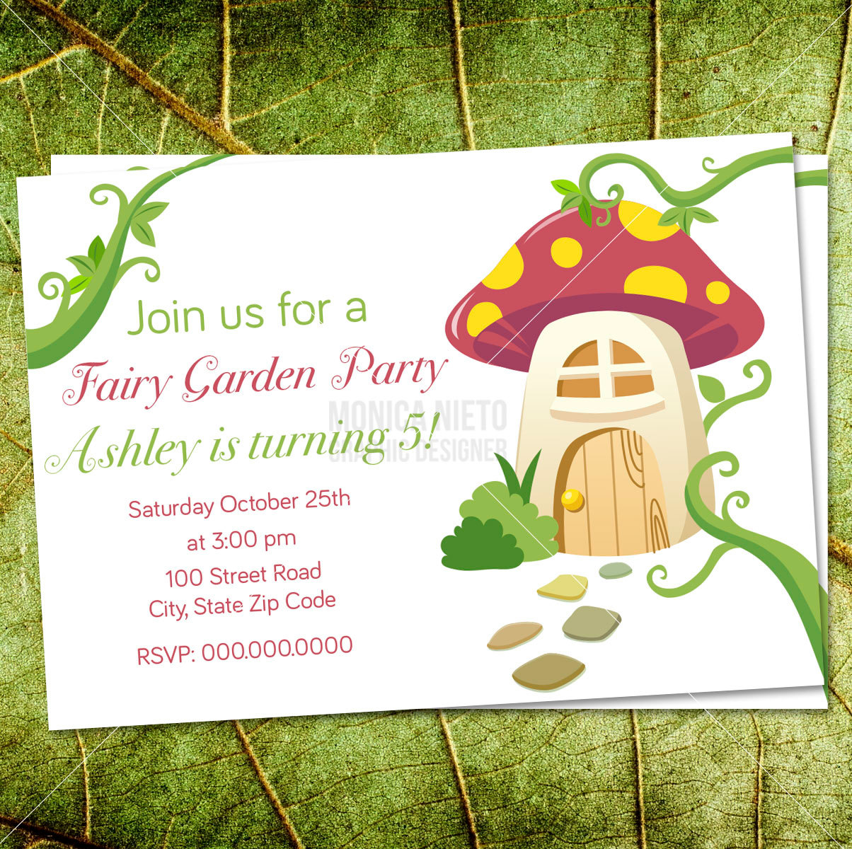 Fairy Tea Party Birthday Invitation/ Mushroom Inviation/