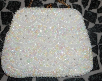 VINTAGE Sequined Hand Made 8.5 x 4 x 1.5 Ivory Evening Bag