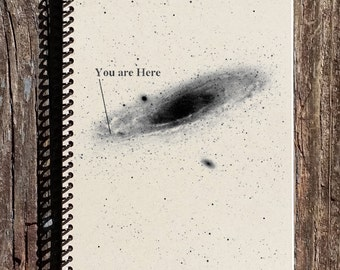You Are Here Notebook - You Are Here Journal - Geeky Notebook - Geeky Journal - Sketchbook - Gift for Him - Gift for Her - Galaxy