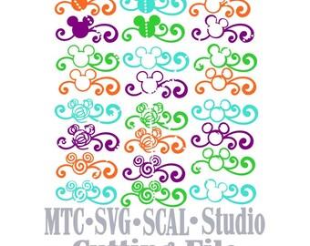 SVG Cut File Set 03 Mouse Head Flourished Designs Bundle of 24 MTC SCAL Cricut Silhouette Cutting File