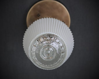 Semi Flush Light Fixture w/ Mid Century Modern White Glass Shade and Down Rod - Antique Reproduction Fixtures - Hand Finished Brass