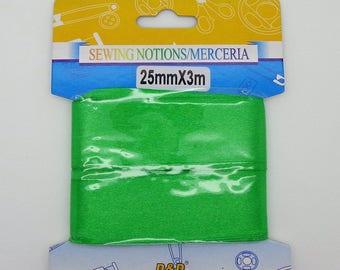 25mm wide green satin ribbon 3 meters