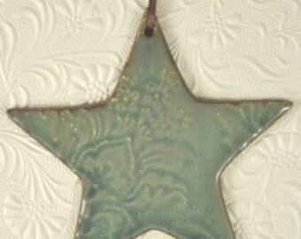 Ceramic Christmas Tree Ornament - Star, moss