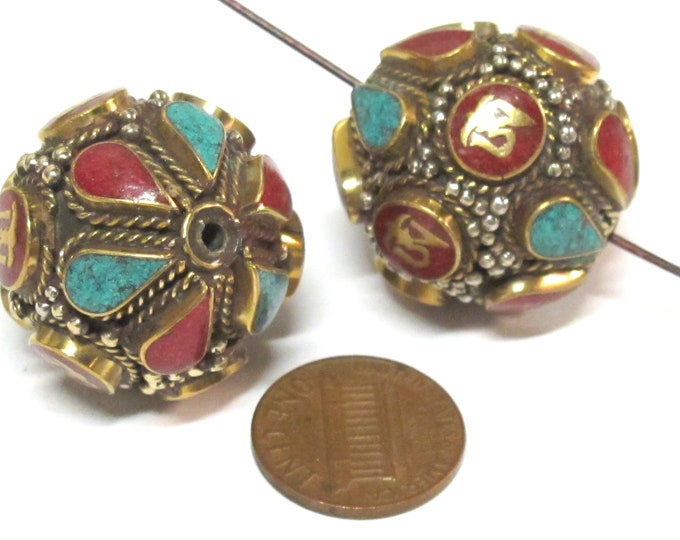 2 Beads -  Large Oval ball shape Tibetan Om Brass filigree bead with turquoise coral inlay - BD428Ks