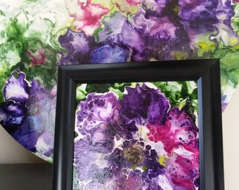 8x8 Abstract flower painting with black frame