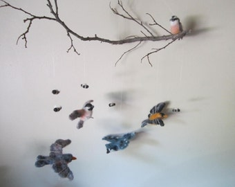 Baby Mobile, Birds and Bees Needle felted baby mobile, CHOOSE YOUR BIRDS, nursery decor