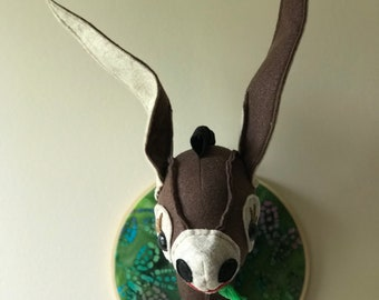 Desmond the Donkey Faux Taxidermy Head Mount /Stuffed Animal Head/Stuffed Donkey Head/Faux Taxidermy Donkey/Trophy Head/Trophy Donkey
