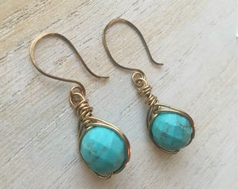 Turquoise & Brass Earrings