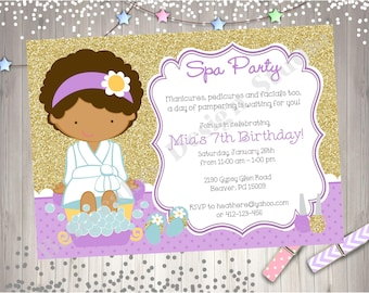 Spa Party Birthday Invitation Invite Purple and Gold Spa Birthday Party Printable Invitation CHOOSE YOUR GIRL Custom Colors Available