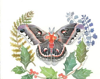 Moth and Holly Watercolor Print Spiritual Magical Symbolic Intuitive Art