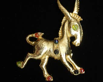Donkey Horse Pin with Rhinestones Vintage Brooch