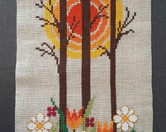 Traditionel Embroidered Tapestry Swedish Vintage Design Folk Art Embroidery 70s Wall hanging Decor