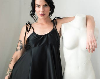 Contrarian Slip Dress in Black Silk Charmeuse / Custom Sized Lingerie, Babydoll Dress, Sexy Slip Dress, Flirty Loungewear, Silk Mini Dress