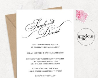 Wedding Invitation & RSVP Card - Printable - Wedding Invitation Set