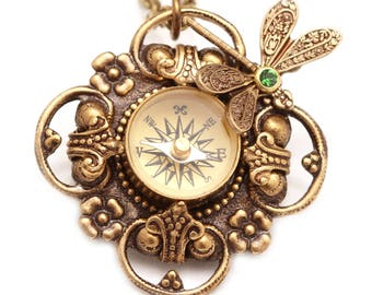 Compass Necklace For Women Compass Necklace Working Victorian Filigree Compass Necklace