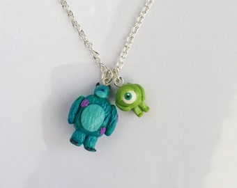 Monsters Inc Sulley and Mike Wasoski Inspired Charm Necklace or Bracelet Handmade Polymer Clay