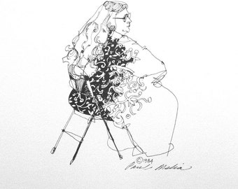 """Black & White Pen and Ink, Line Drawing- Seated Lady with Flower Print Dress--Figure Drawing-Fine Art Print--""""Seated Lady""""--No. L-2"""