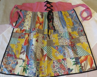 Apron Pieced Like a Quilt Top w/ Laced Waist Multi Colors  //  Half Apron  //  Nice Quality Polished Cottons  1930s and 40s Fabrics