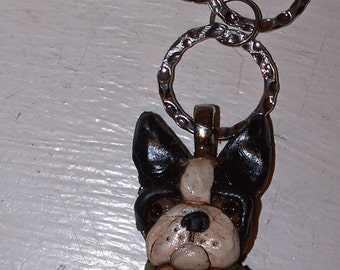 Boutique Boston Terrier Dog Key Chain Ooak Charm