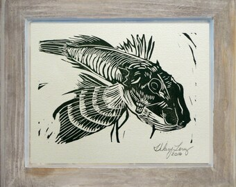 Robinfish hand carved and hand printed linocut