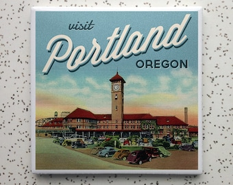 Portland OR Train Station Tile Coaster