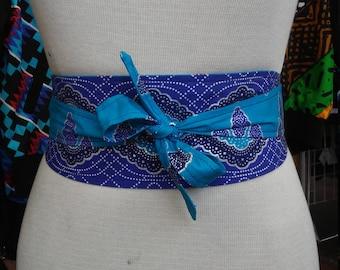 Reversible Obi Belt in Wax Block Ankara Cotton